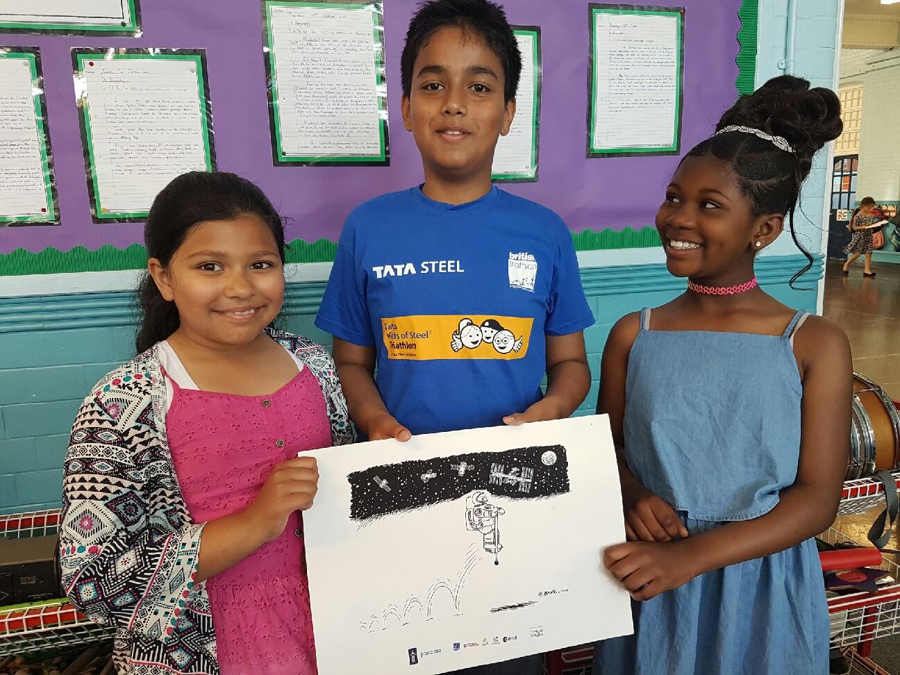 Children accepting Jeremy Banx cartoon